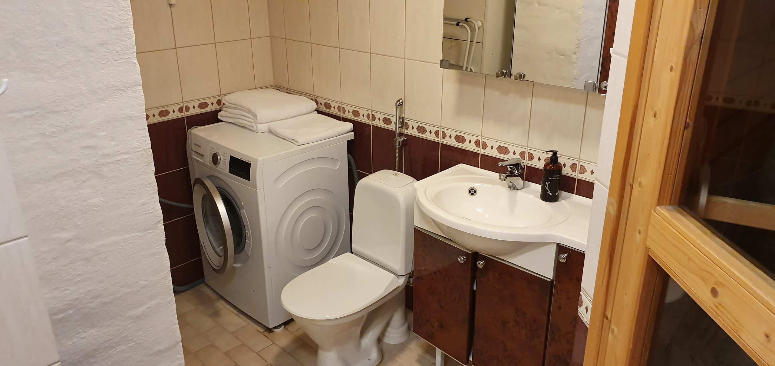 Kuutti Chalet's Bathroom with Washing Machine
